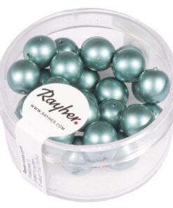 matte Renaissance Glaswachsperlen, blaugrün, Ø 8mm