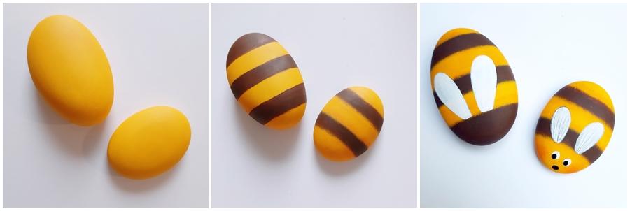 Bienen aus bemalten Steinen