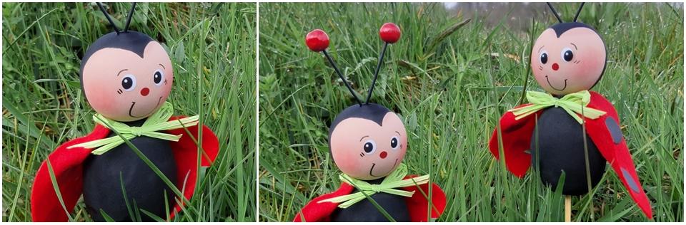 Drei Marienkäfer als Pflanzenstecker