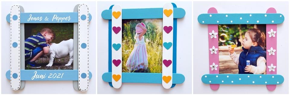 Bunte Bilderrahmen aus Bastelhölzern mit Fotos von Kindern