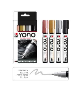 Marabu YONO Acrylmarker Set metallic, 4 Stifte