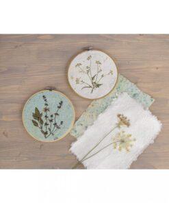 Bilder aus Naturpapier im Stickrahmen