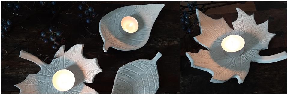 3 Blätter als Schalen aus Modelliermasse mit Teelicht