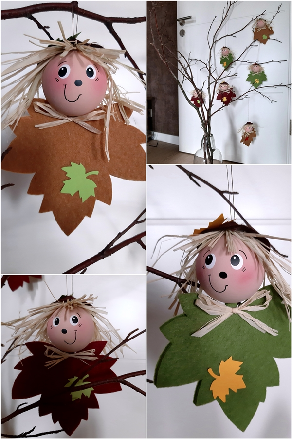 3 Blätterkinder aus Filz am Zweig