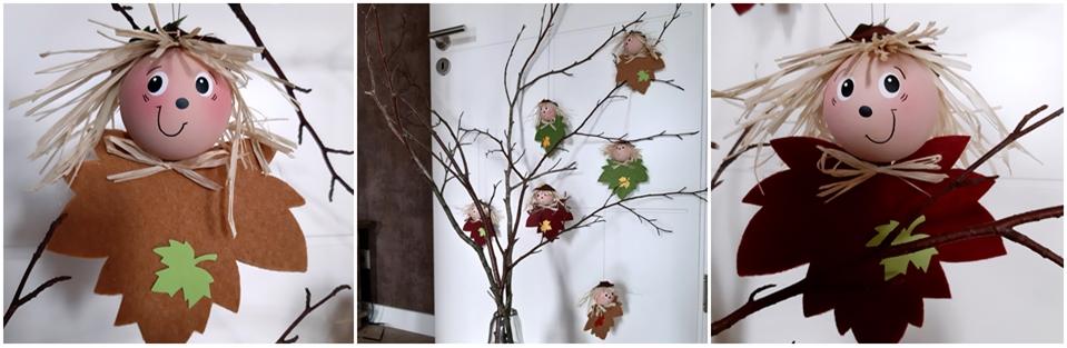 Blätterkinder aus Filz am Zweig