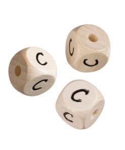 Holzwürfel Buchstabe C, hell gebleicht