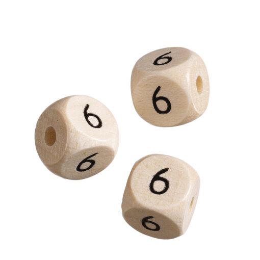 Holz-Zahlenwürfel 6, hell gebleicht