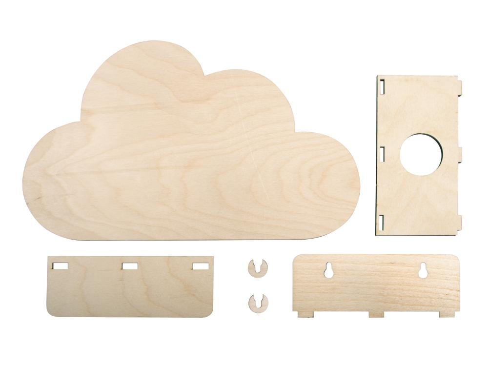 Wolke aus Holz als Lampe Eizelteile vom Bausatz