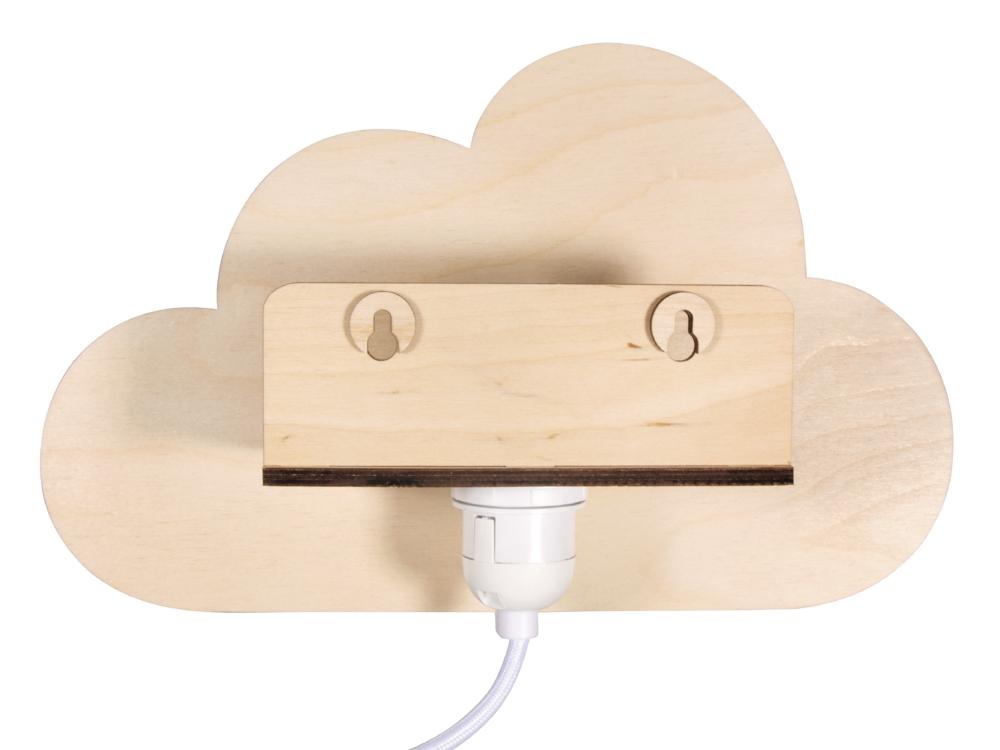 Wolke aus Holz als Lampe Rückansicht