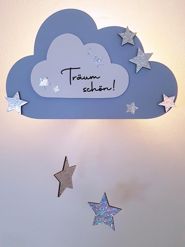 Nachtlicht kleine Wolke mit Text und beleuchtet