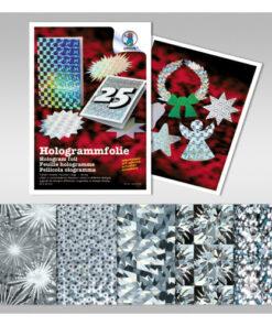 Hologrammfolie in silber, 5 Blatt sortiert
